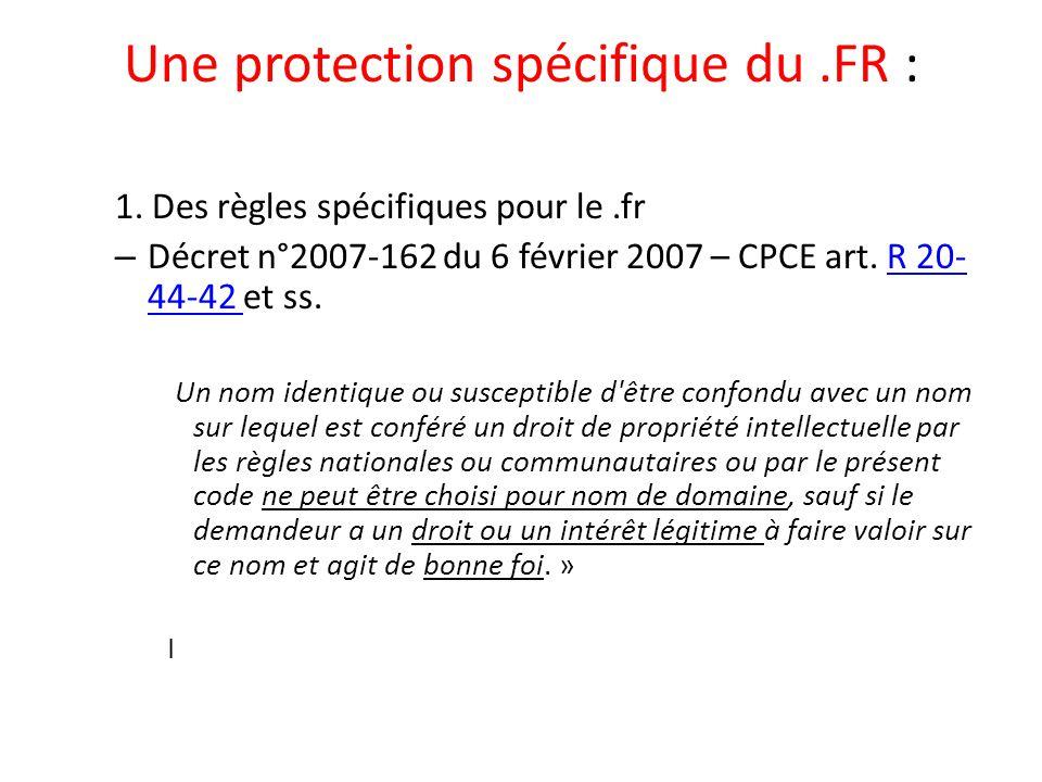 Une protection spécifique du .FR :