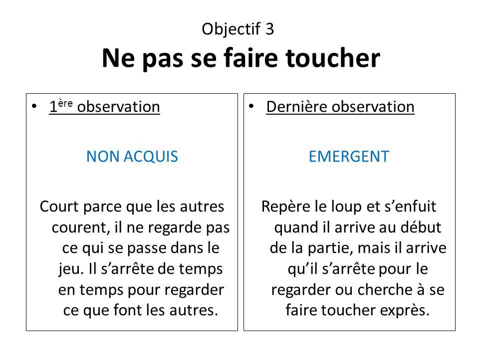 Objectif 3 Ne pas se faire toucher