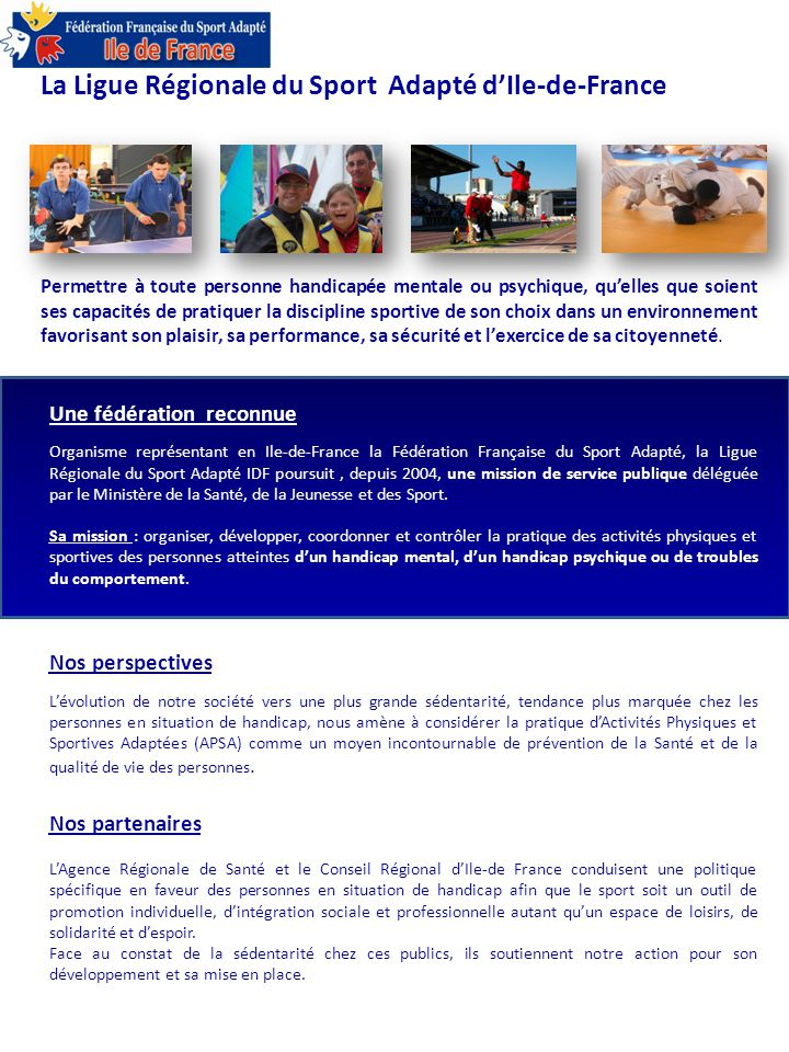 La Ligue Régionale du Sport Adapté d'Ile-de-France