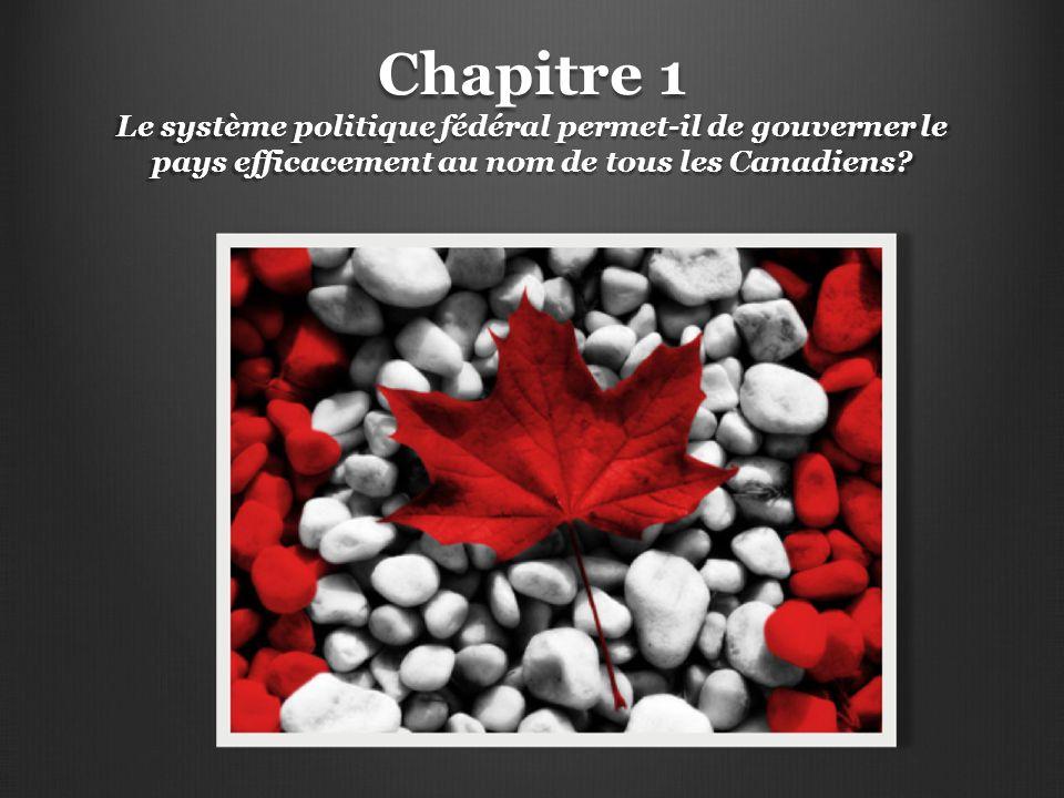 Chapitre 1 Le système politique fédéral permet-il de gouverner le pays efficacement au nom de tous les Canadiens
