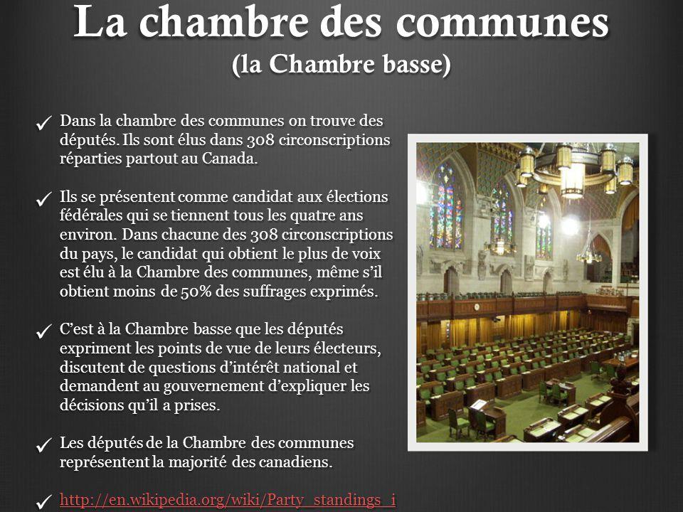 La chambre des communes (la Chambre basse)