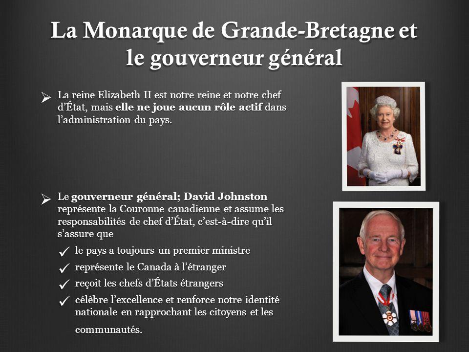 La Monarque de Grande-Bretagne et le gouverneur général