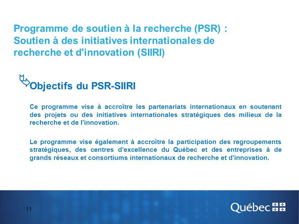 Objectifs du PSR-SIIRI
