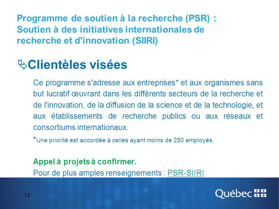 Programme de soutien à la recherche (PSR) : Soutien à des initiatives internationales de recherche et d innovation (SIIRI)