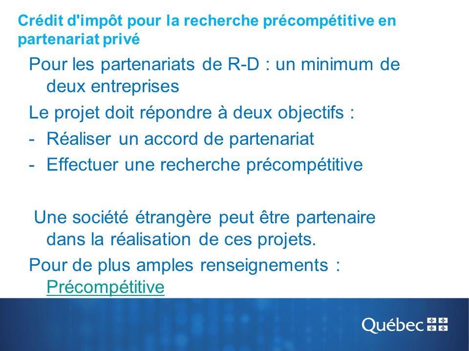 Crédit d impôt pour la recherche précompétitive en partenariat privé
