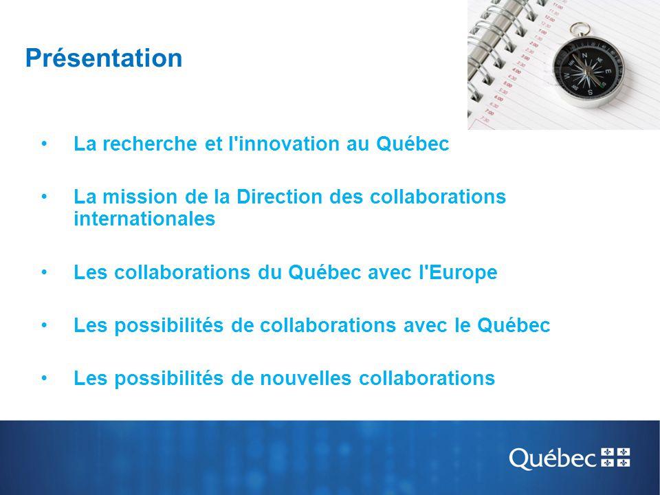 Présentation La recherche et l innovation au Québec