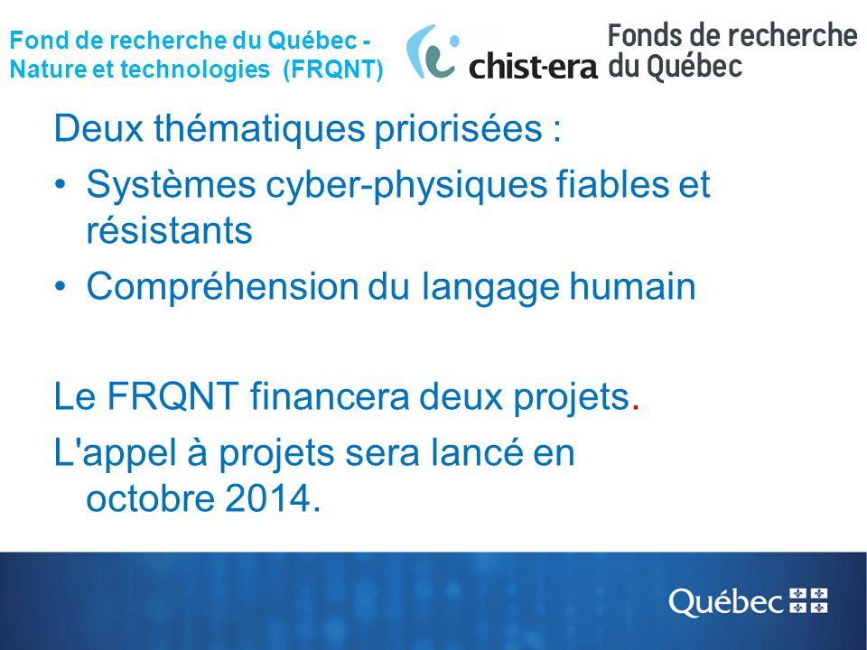 Fond de recherche du Québec - Nature et technologies (FRQNT)