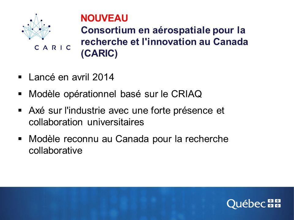 NOUVEAU Consortium en aérospatiale pour la recherche et l innovation au Canada (CARIC)