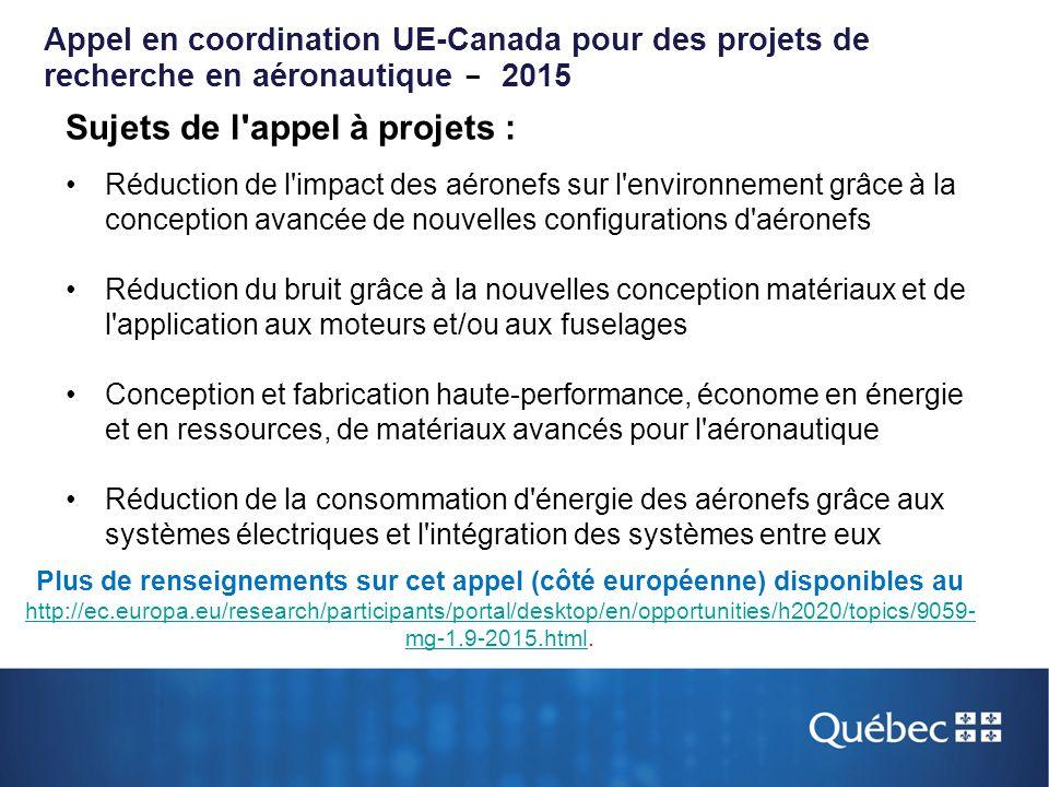 Appel en coordination UE-Canada pour des projets de recherche en aéronautique - 2015