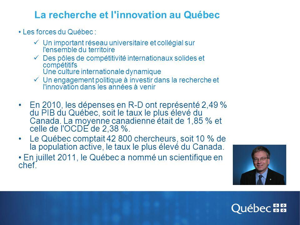 La recherche et l innovation au Québec