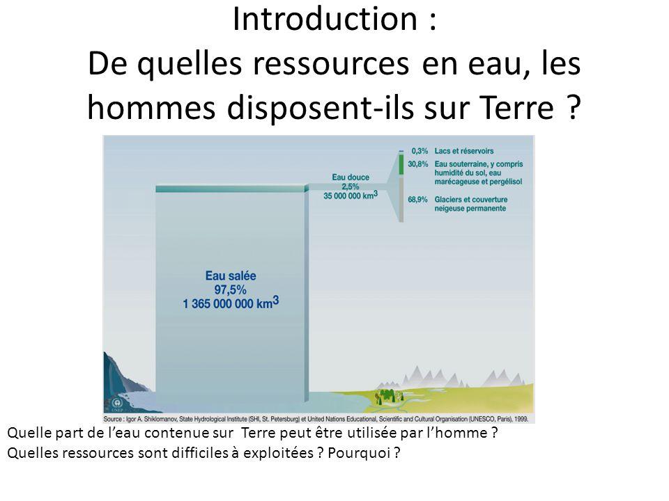 Introduction : De quelles ressources en eau, les hommes disposent-ils sur Terre
