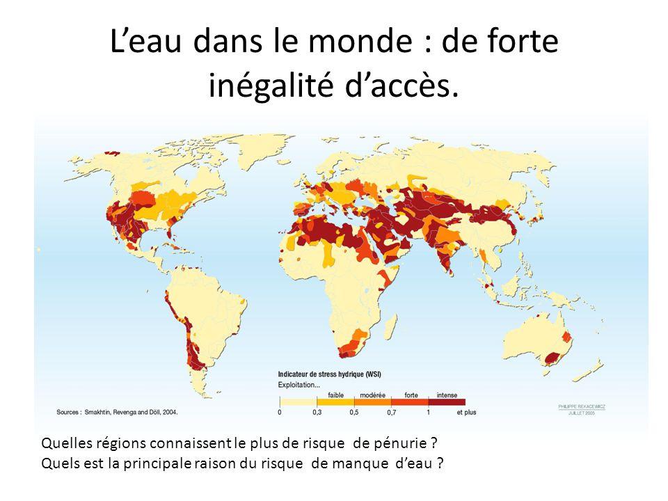 L'eau dans le monde : de forte inégalité d'accès.
