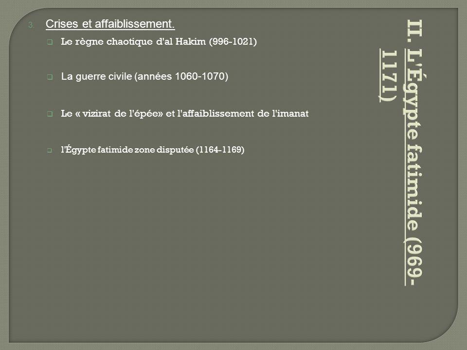 L Égypte fatimide (969-1171) Crises et affaiblissement.