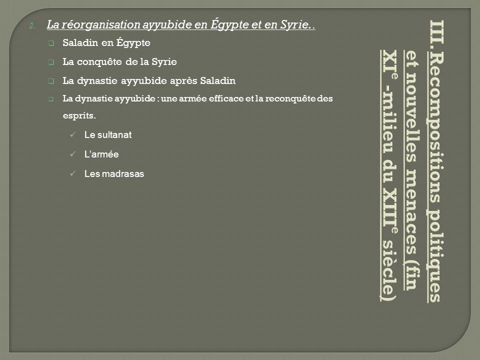 La réorganisation ayyubide en Égypte et en Syrie..