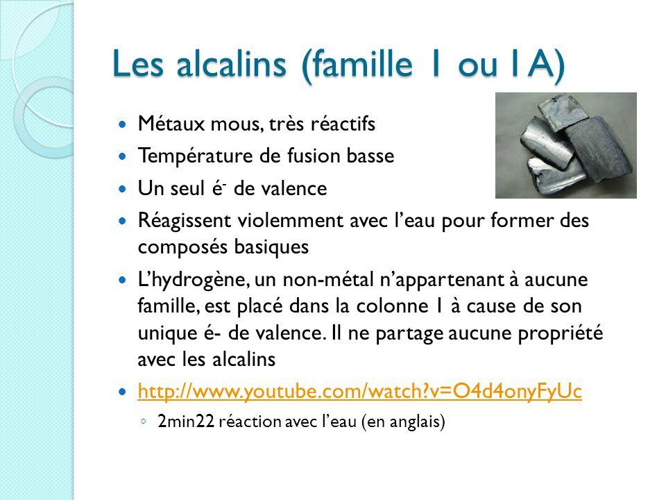 Les alcalins (famille 1 ou I A)