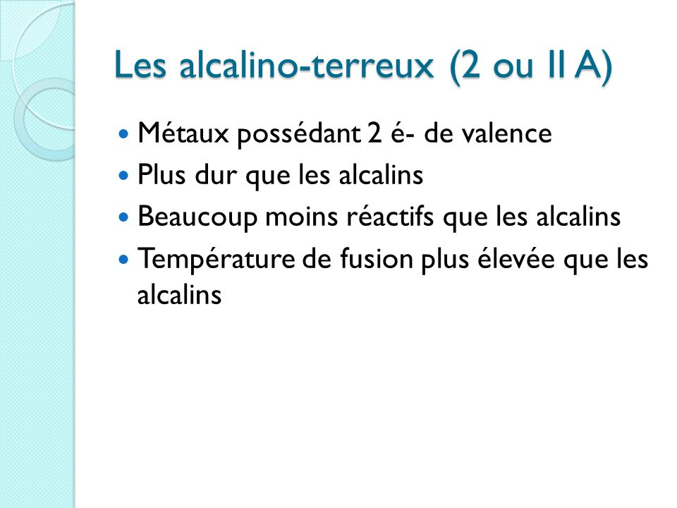 Les alcalino-terreux (2 ou II A)