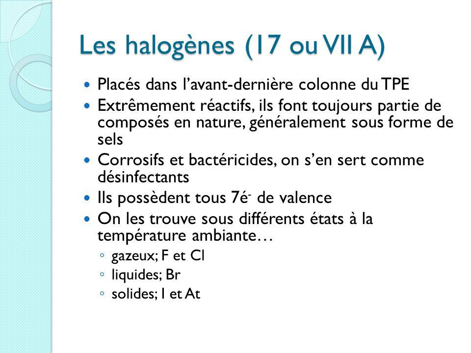 Les halogènes (17 ou VII A)
