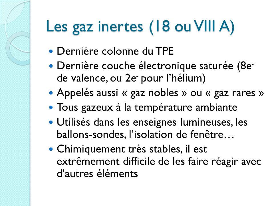 Les gaz inertes (18 ou VIII A)