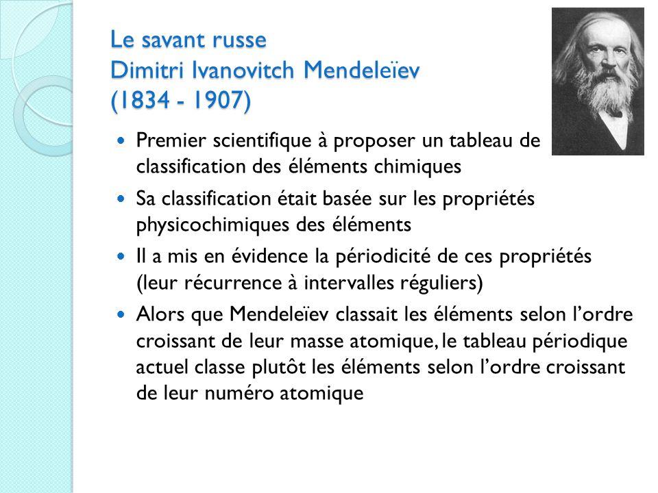 Le savant russe Dimitri Ivanovitch Mendeleïev (1834 - 1907)