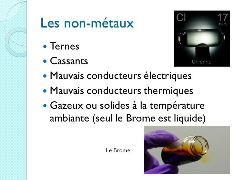 Les non-métaux Ternes Cassants Mauvais conducteurs électriques