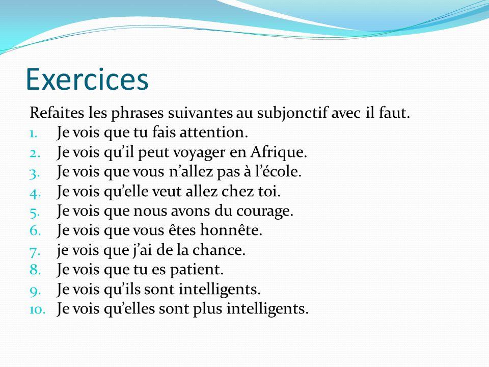 Exercices Refaites les phrases suivantes au subjonctif avec il faut.