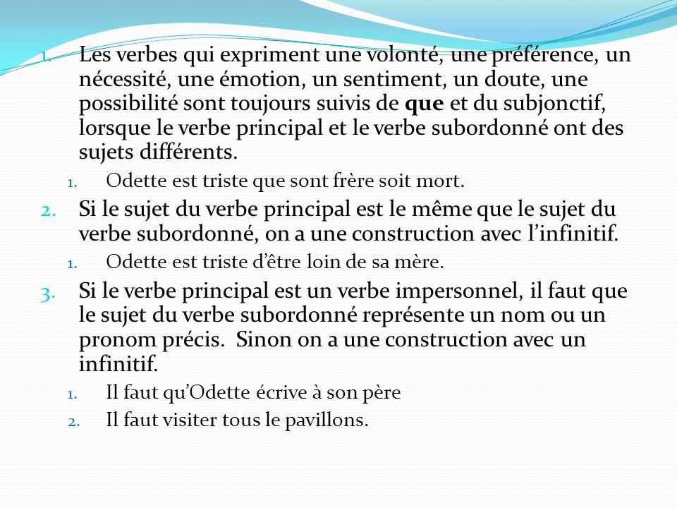 Les verbes qui expriment une volonté, une préférence, un nécessité, une émotion, un sentiment, un doute, une possibilité sont toujours suivis de que et du subjonctif, lorsque le verbe principal et le verbe subordonné ont des sujets différents.