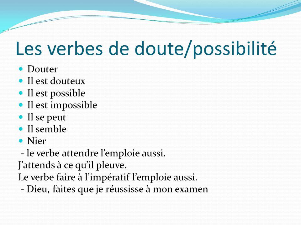 Les verbes de doute/possibilité
