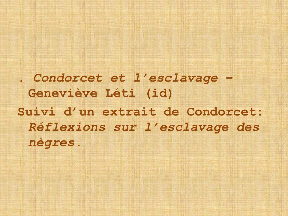 . Condorcet et l'esclavage – Geneviève Léti (id)