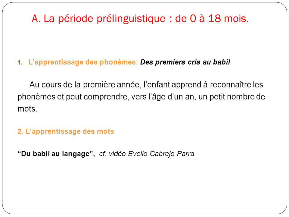 A. La période prélinguistique : de 0 à 18 mois.