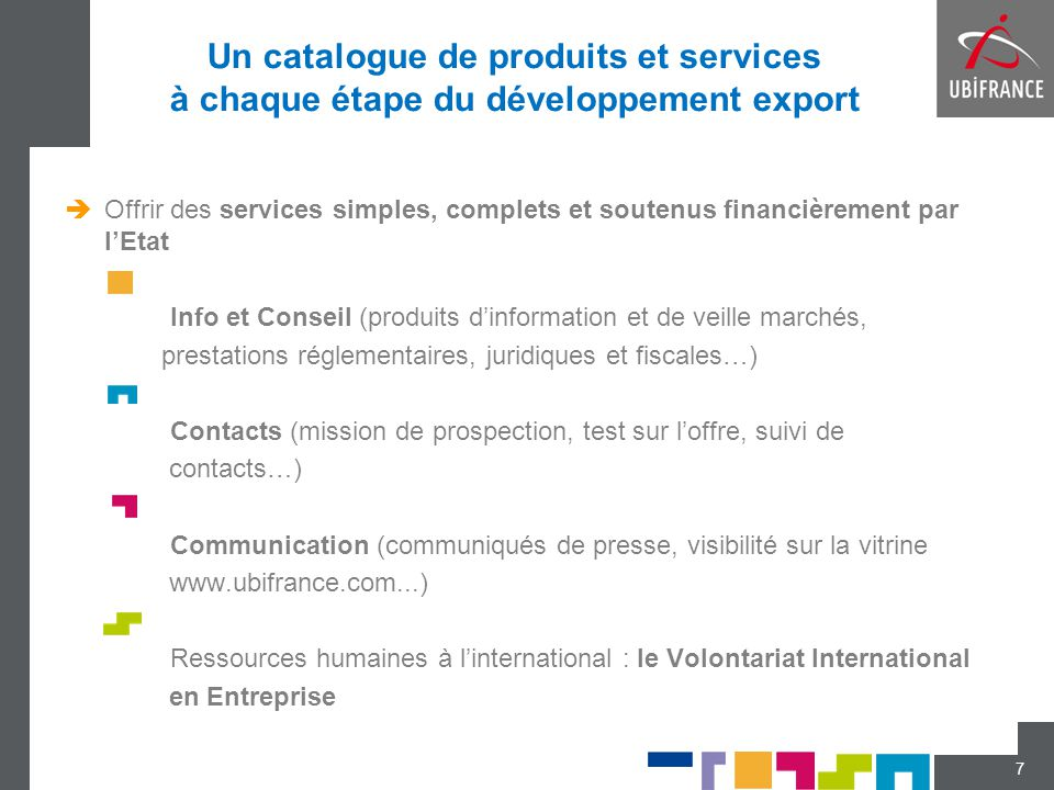 Un catalogue de produits et services à chaque étape du développement export