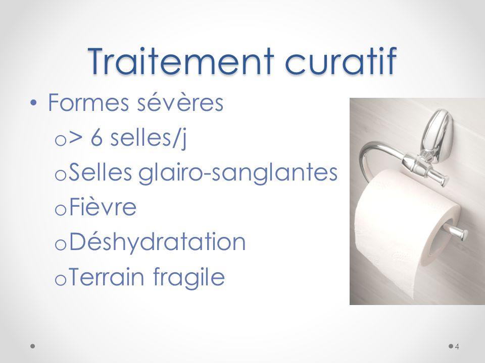 Traitement curatif Formes sévères > 6 selles/j