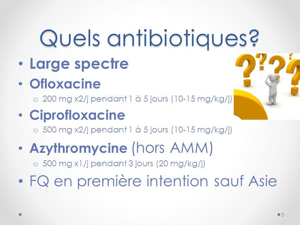 Quels antibiotiques Large spectre FQ en première intention sauf Asie