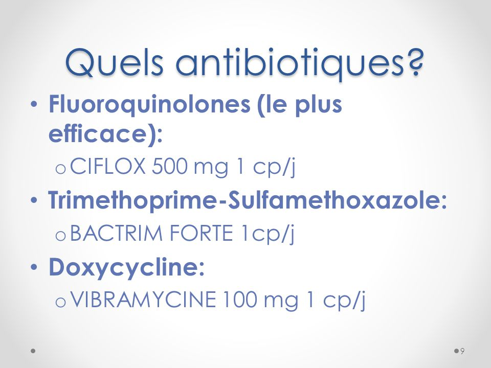 Quels antibiotiques Fluoroquinolones (le plus efficace):