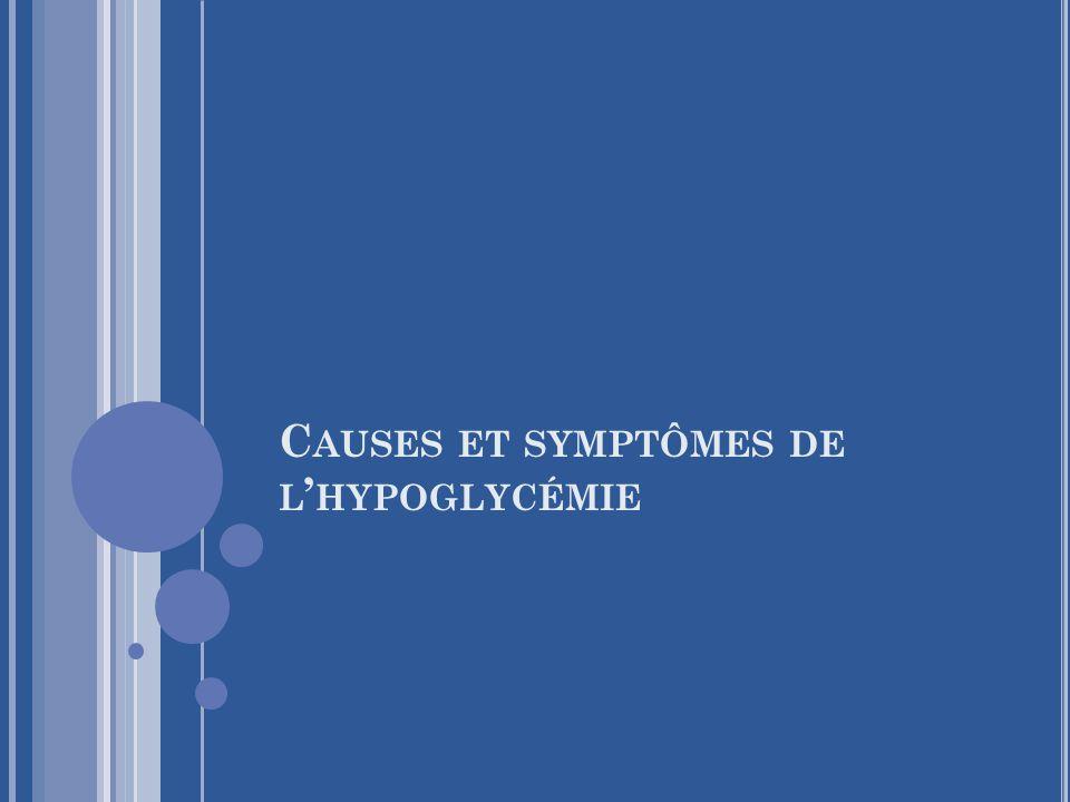 Causes et symptômes de l'hypoglycémie