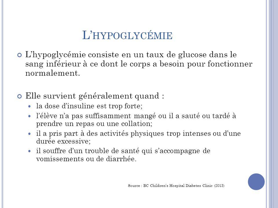 L'hypoglycémie L'hypoglycémie consiste en un taux de glucose dans le sang inférieur à ce dont le corps a besoin pour fonctionner normalement.