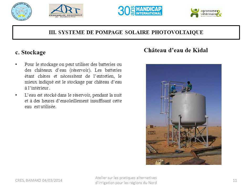 III. SYSTEME DE POMPAGE SOLAIRE PHOTOVOLTAIQUE