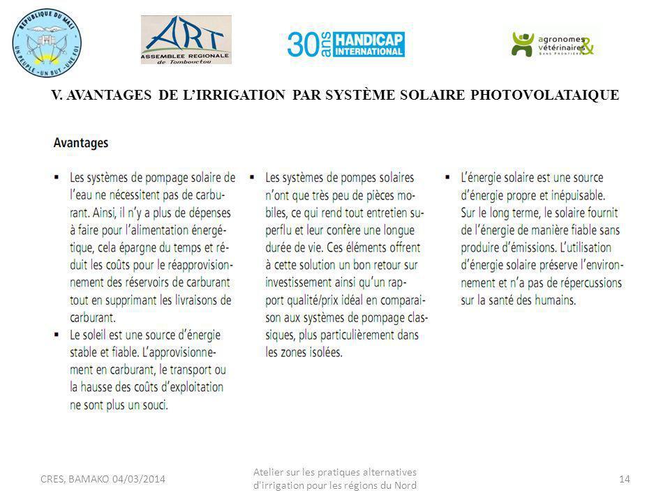 V. AVANTAGES DE L'IRRIGATION PAR SYSTÈME SOLAIRE PHOTOVOLATAIQUE