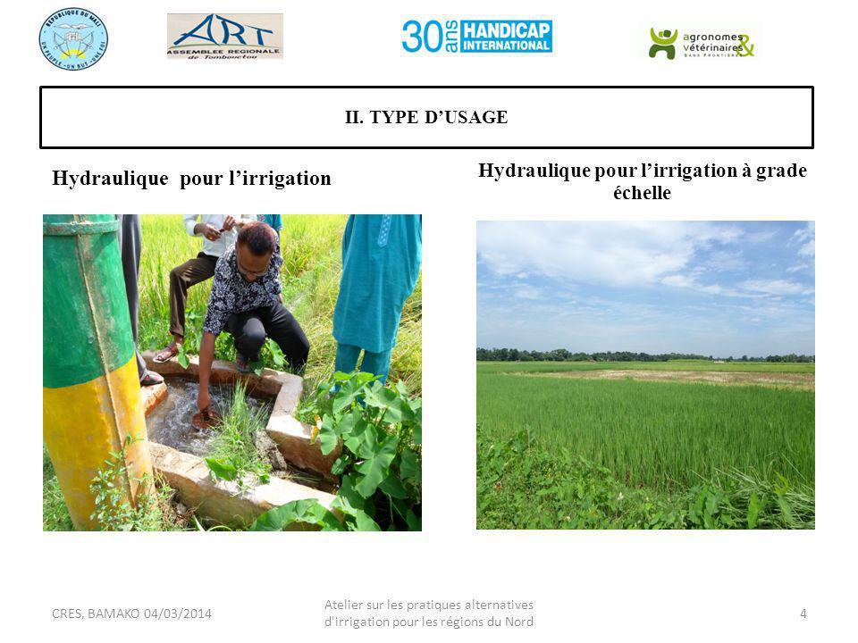 Hydraulique pour l'irrigation à grade échelle