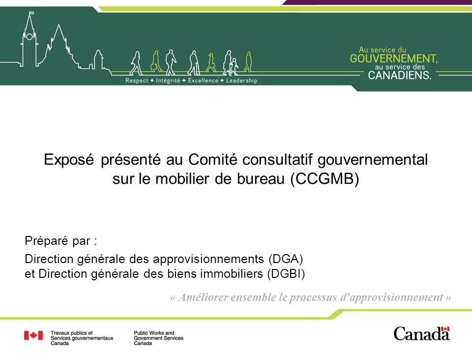 Exposé présenté au Comité consultatif gouvernemental sur le mobilier de bureau (CCGMB)