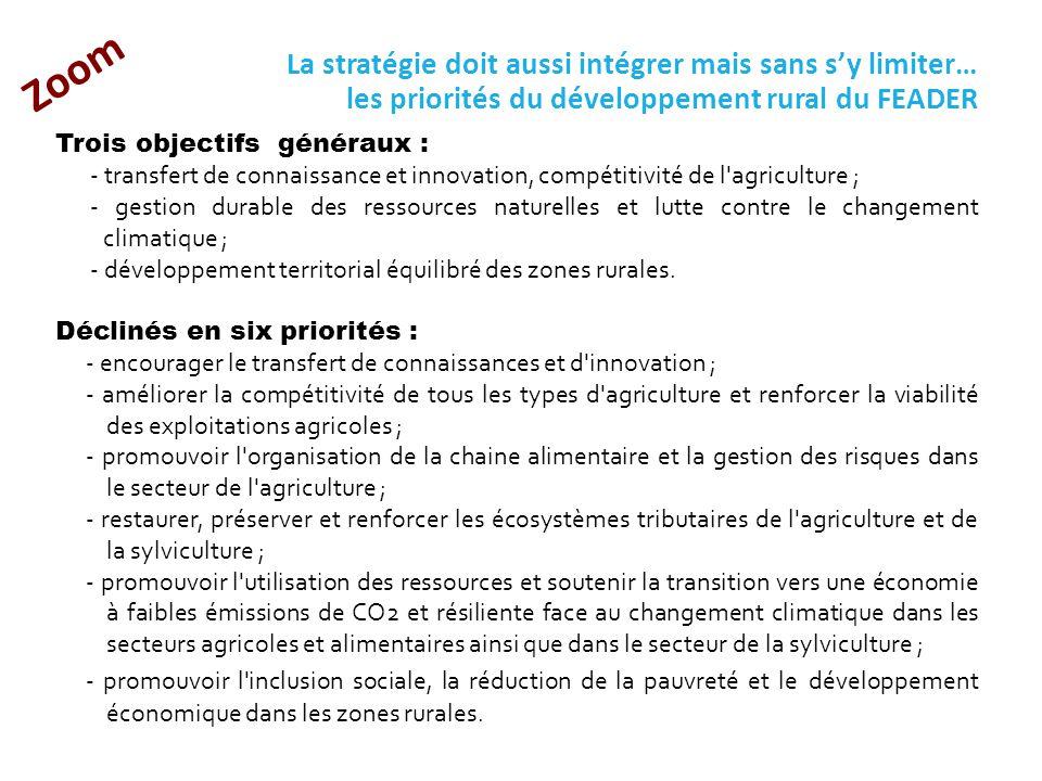 26/05/14 Zoom. La stratégie doit aussi intégrer mais sans s'y limiter… les priorités du développement rural du FEADER.