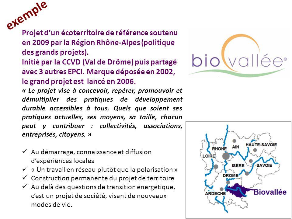 exemple Projet d'un écoterritoire de référence soutenu en 2009 par la Région Rhône-Alpes (politique des grands projets).