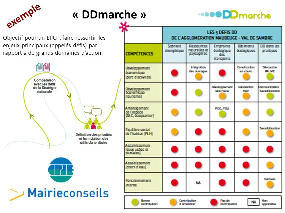 exemple « DDmarche » Objectif pour un EPCI : faire ressortir les enjeux principaux (appelés défis) par rapport à de grands domaines d'action.