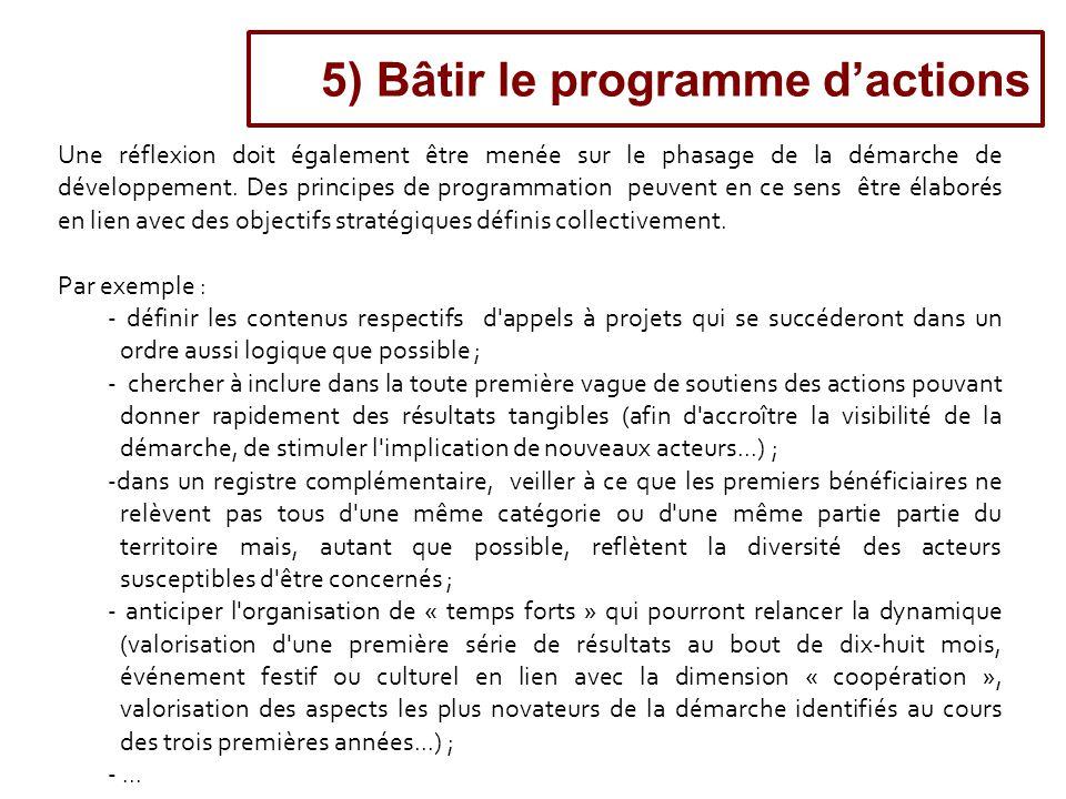 5) Bâtir le programme d'actions