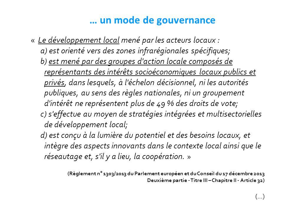 … un mode de gouvernance