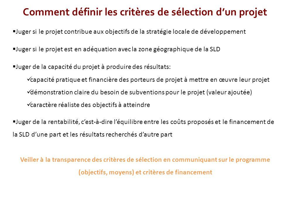 Comment définir les critères de sélection d'un projet