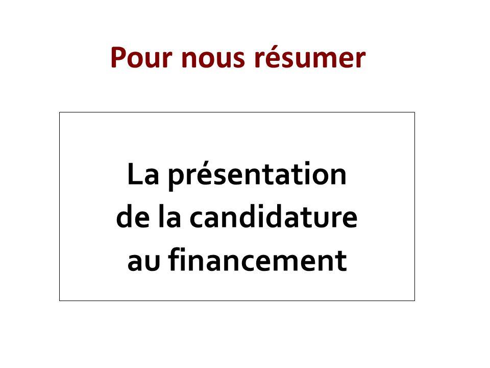 La présentation de la candidature au financement