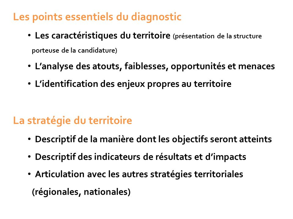 Les points essentiels du diagnostic