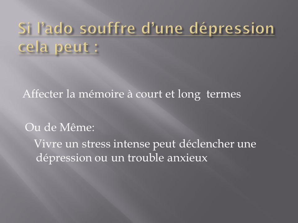Si l'ado souffre d'une dépression cela peut :