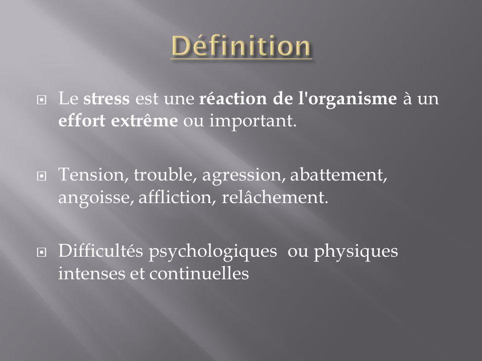 Définition Le stress est une réaction de l organisme à un effort extrême ou important.