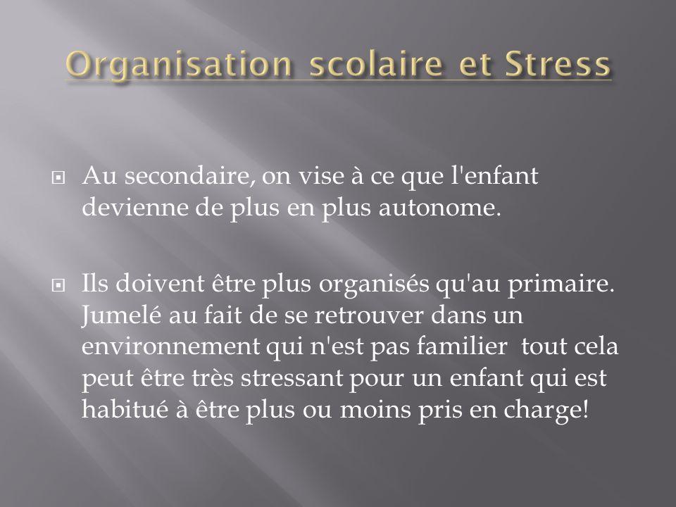 Organisation scolaire et Stress